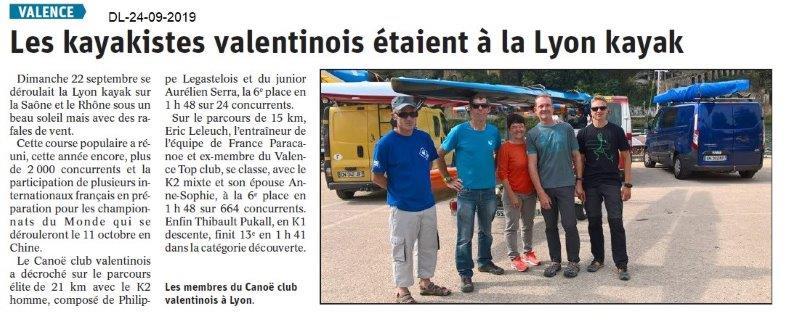 Dauphiné libéré du -24-09-2019- Canoë club de Valence