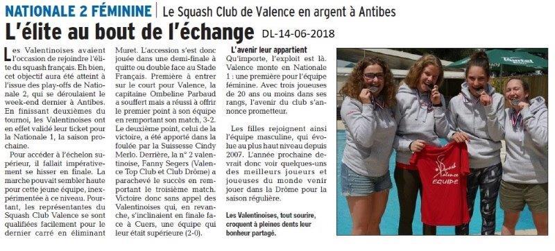 Dauphiné Libéré du 14-06-2018- SQUASH Club de Valence