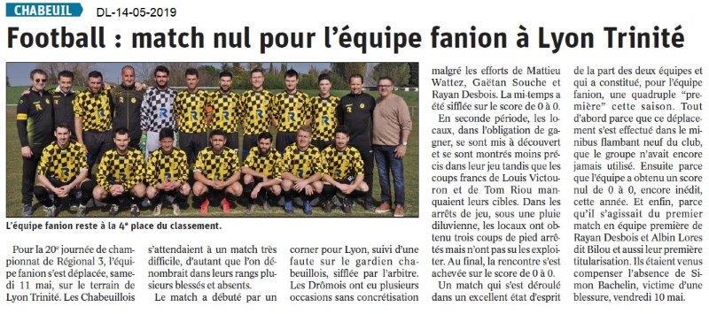 Le Dauphiné Libéré du 14-05-2019- Foot de Chabeuil