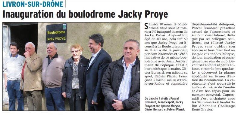 Dauphiné Libéré du 12-03-2018 Boulodrome Jacky Proye