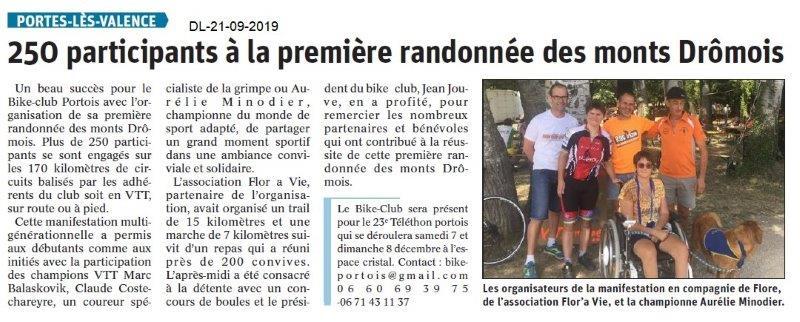 Dauphiné libéré du 21-09-2019- Bike Club Portois Randonnée des Monts Drômois