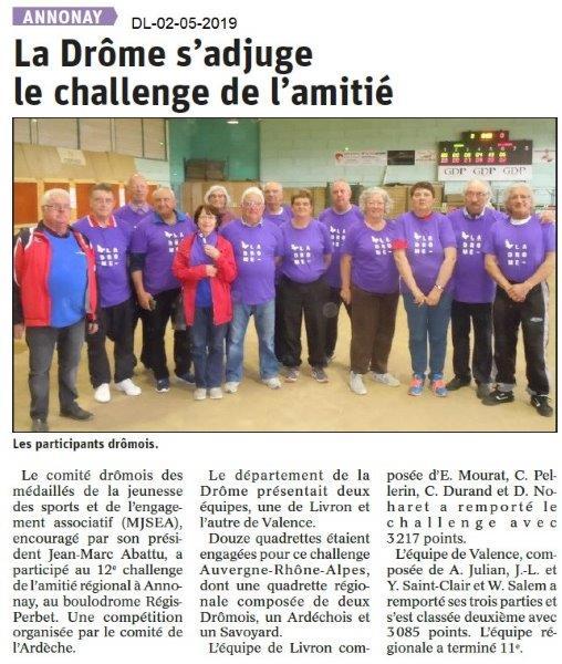 Le Dauphiné Libéré du 02-05-2019- Engagés Drôme du Challenge de l'Amitié