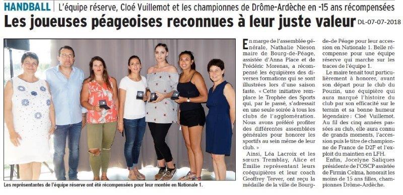 Dauphiné Libéré du 07-07-2018- Joueuses péageaoises récompensées
