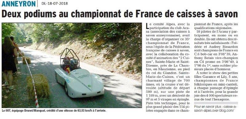 Dauphiné Libéré du 18-07-2018- Podium au Championnat de France de Caisses à Savon pour Anneyron