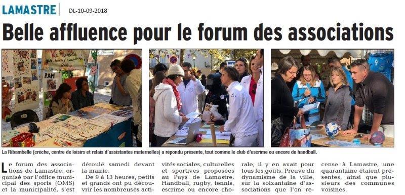Dauphiné Libéré du 10-09-2018- Forum avec l'OMS de Lamastre