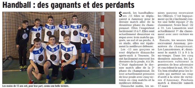Dauphiné Libéré du 06-03-2018 Handball-Lamastre