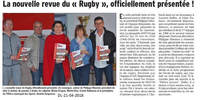 Dauphiné Libéré du 21-04-2018-Revue du Rugby Chabeuil