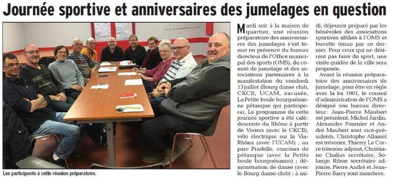 Dauphiné Libéré du 29-03-2018-Eléction du Président de l'OMS de Bourg Saint-Andéol