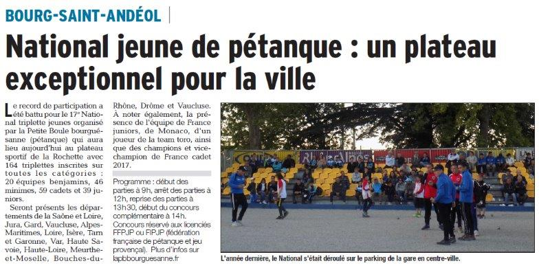 Dauphiné Libéré du 01-04-2018 National jeune de Pétanque-BSA
