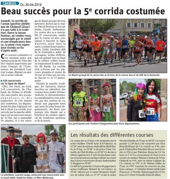 Le Dauphiné Libéré du 30-04-2019- Corrida de Chabeuil