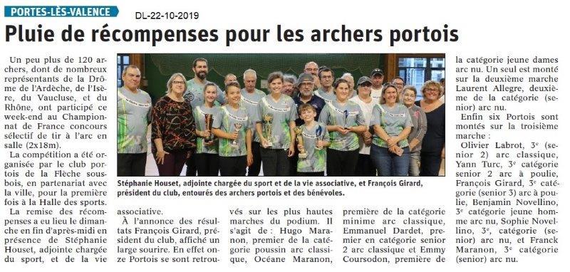 Dauphiné libéré du 22-10-2019- La Flèche sous Bois PLV