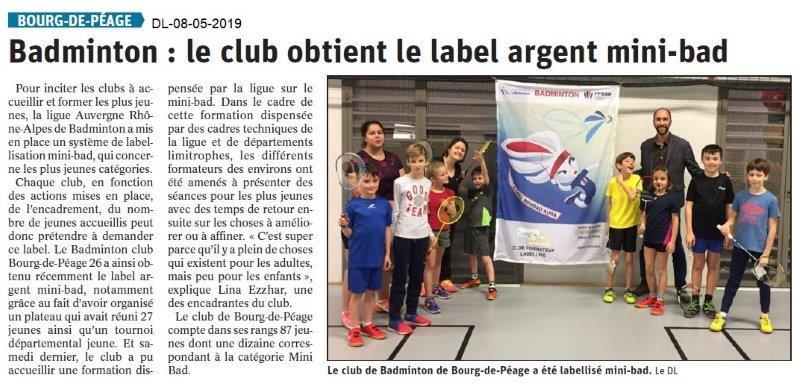 Le Dauphiné Libéré du 08-05-2019- Badminton de Bourg de Péage
