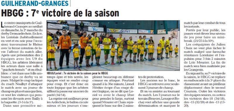 Dauphiné Libéré du 06-03-2018 Handball-Guilherand-Granges