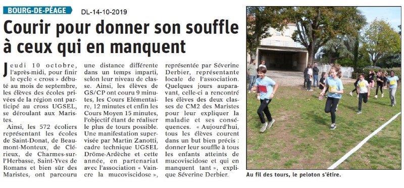 Dauphiné libéré du 14-10-2019- Courrir à Bourg de Péage