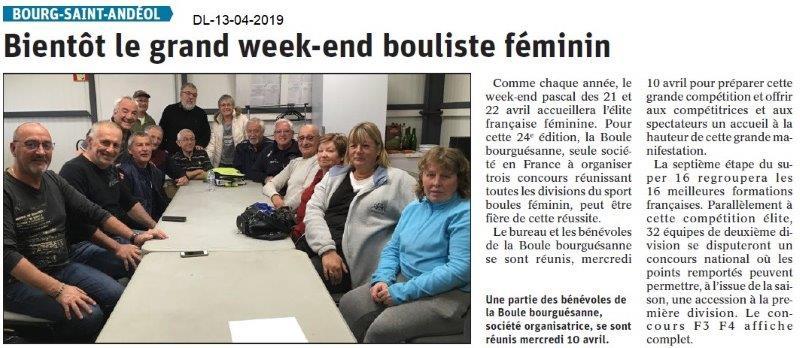 Le Dauphiné Libéré du 13-04-2019- Weekend bouliste féminin à BSA