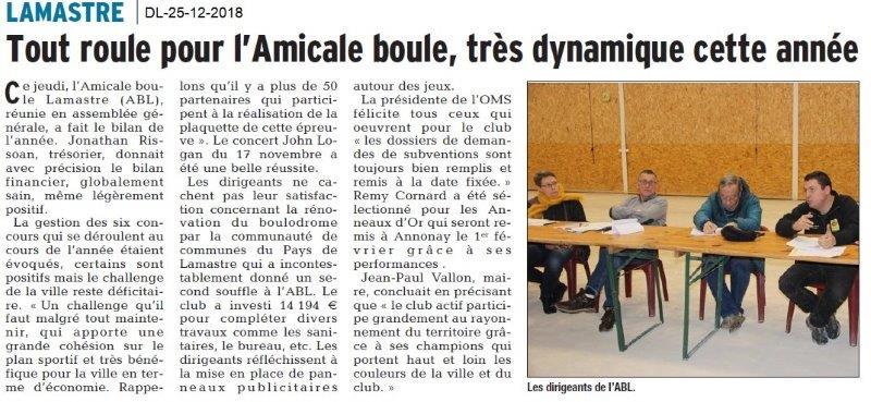 Dauphiné Libéré du 25-12-2018- L'Amicale boule de Lamastre