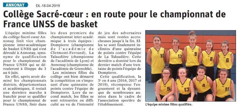 Le Dauphiné Libéré du 18-04-2019- Basket Annonay
