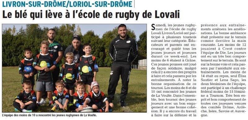 Dauphiné Libéré du 27-03-2018-Ecole de rugby-Loriol