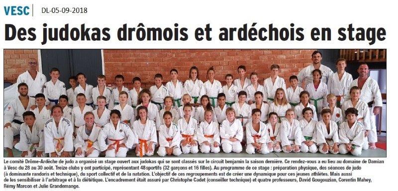 Dauphiné Libéré du 05-09-2018- Stage de judo Drôme-Ardèche