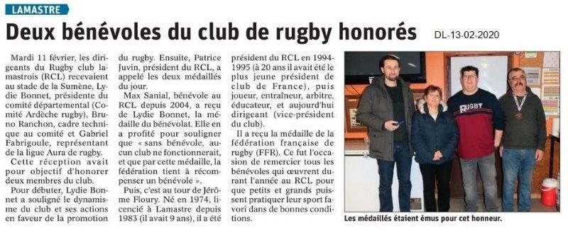 Le Dauphiné Libéré du 13-02-2020- Rugby de Lamastre