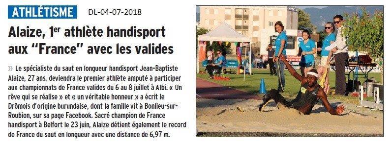 Dauphiné Libéré du 04-07-2018- 1er Athlète Handisport au France avec les valides