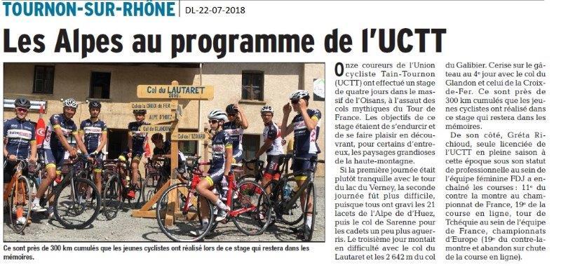Dauphiné Libéré du 22-07-2018- Programme de l'UCTain-Tournon