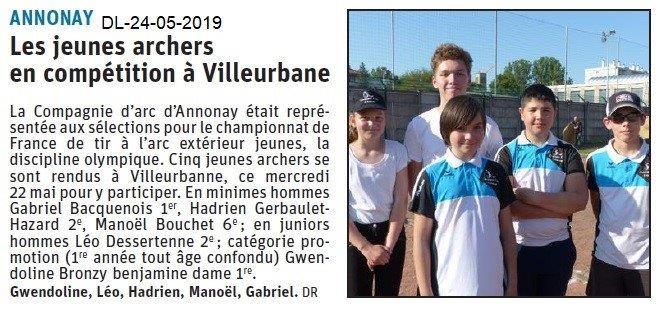 Le Dauphiné Libéré du 24-05-2019- Archers d'Annonay