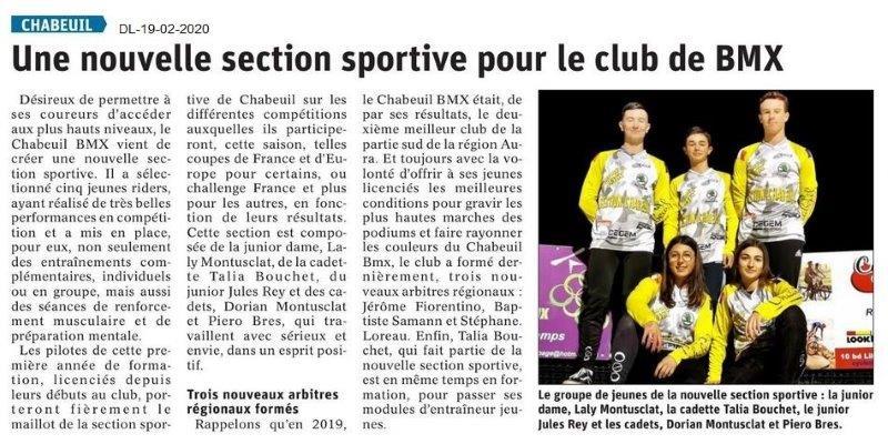 Dauphiné Libéré du 19-02-2020- BMX de Chabeuil