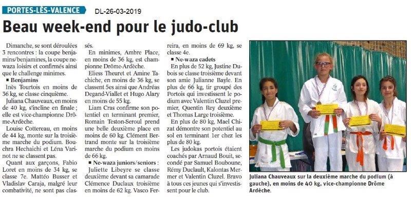 Dauphiné Libéré du 26-03-2019- Judo club PLV