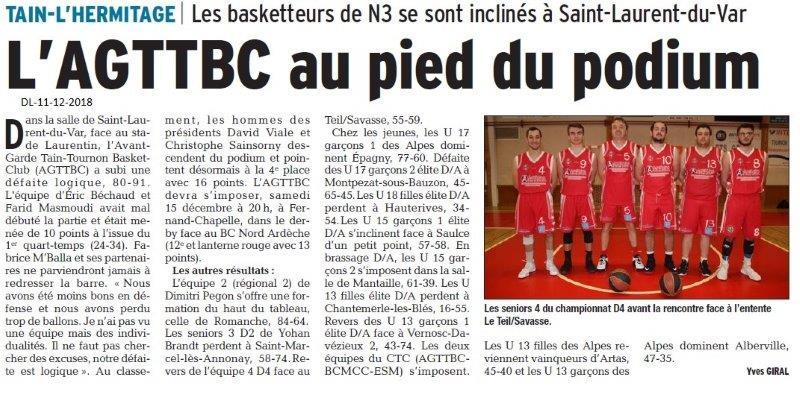 Dauphiné Libéré du 11-12-2018- Les basketeurs de Tain-L'Hermitage