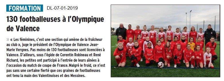 Dauphiné Libéré du 07-01-2019- Valence et les footballeuses