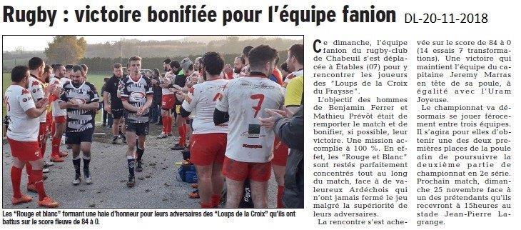 Dauphiné Libéré le 20-11-2018- Rugby de  Chabeuil