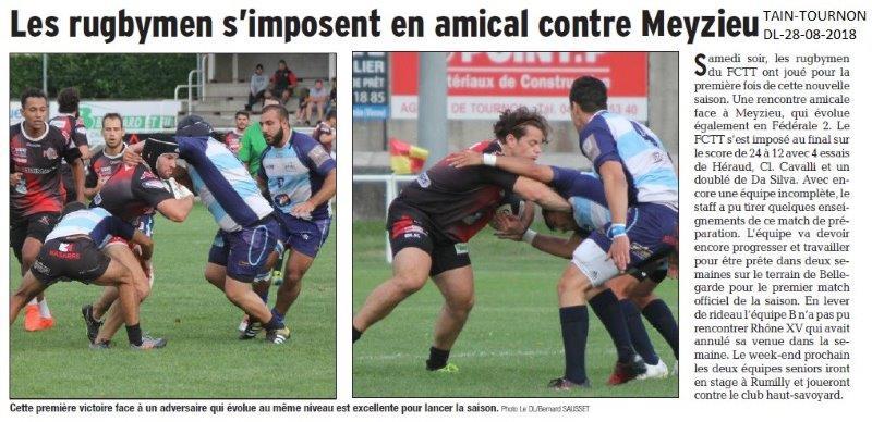 Dauphiné Libéré du 28-08-2018- Rugby du FC Tain-Tournon