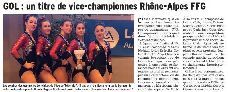 Dauphiné Libéré du 22-03-2018- GOL vice-championnes RA-Loriol