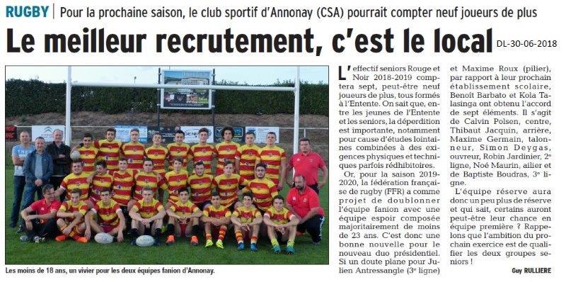 Dauphiné Libéré du 30-06-2018- Rugby Annonay