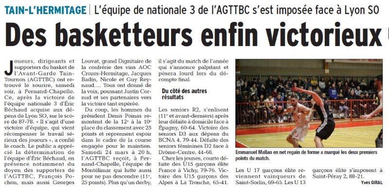 Dauphiné Libéré du 20-03-2018-Basket-Tain-Tournon