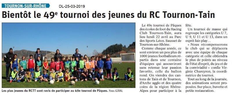 Dauphiné Libéré du 25-03-2019- Tournon 49e tournoi en avril