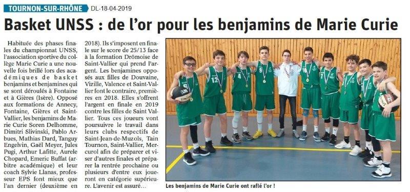 Le Dauphiné Libéré du 18-04-2019- Basket UNSS Tournon