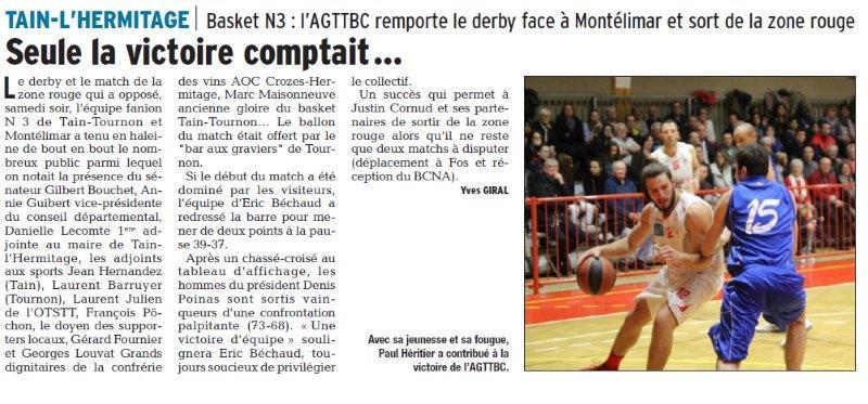 Dauphiné Libéré du 26-03-2018-Basket-Tain-l'Hermitage