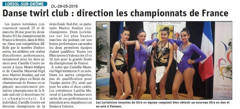 Le Dauphiné libéré du 28-05-2019- Danse Twirl Club Loriol
