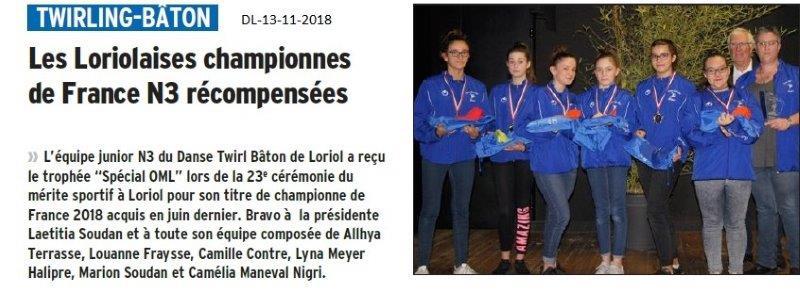 Dauphiné Libéré du 13-11-2018- Twirling Loriolais
