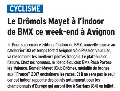 Dauphiné Libéré du-27-01-2018 - BMX Portois