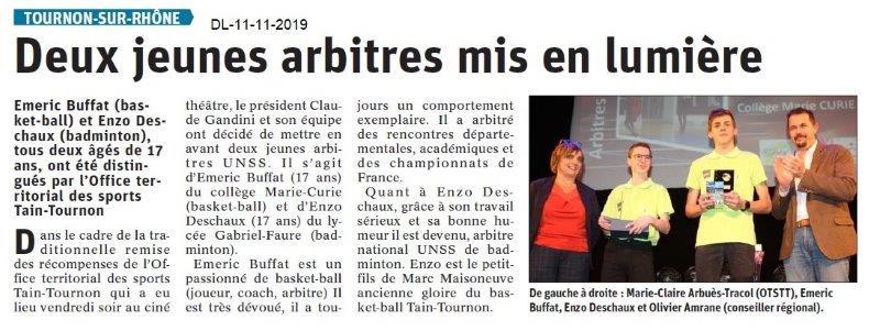 Le Dauphiné Libéré du 11-11-2019- OTSTT-Arbrites récompensés à Tournon