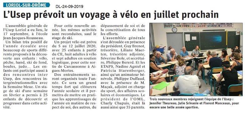 Dauphiné libéré du 24-09-2019- USEP de Loriol