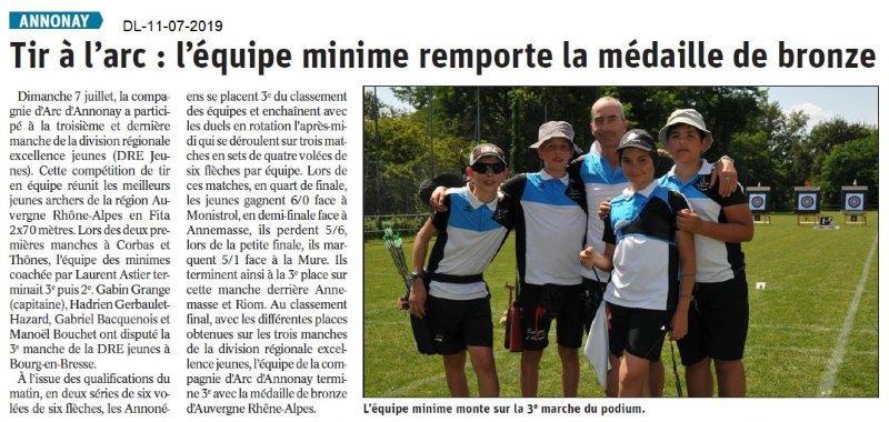 Dauphiné Libéré du 11-07-2019- Tir à l'Arc d'Annonay