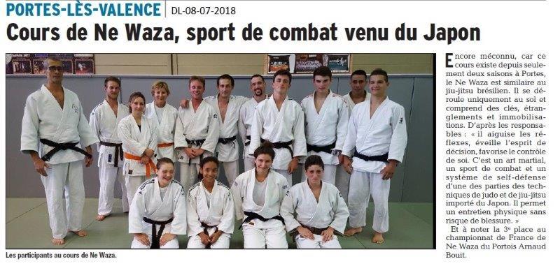 Dauphiné Libéré du 08-07-2018- Cours de Ne Waza à Portes-lès-Valence