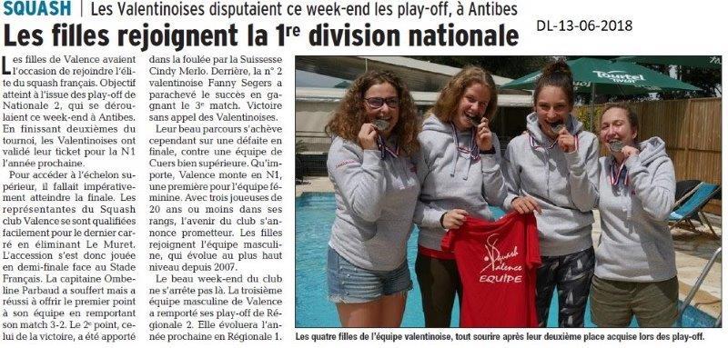 Dauphiné Libéré du 13-06-2018- SQUASH de Valence