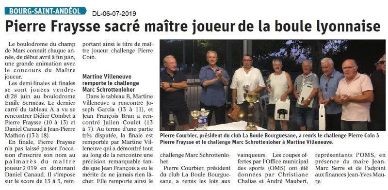 Dauphiné Libéré du 06-07-2019- BSA Boule lyonnaise