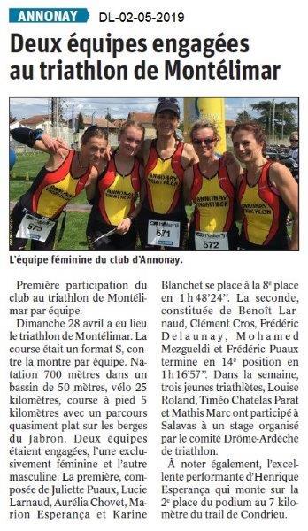 Le Dauphiné Libéré du 02-05-2019- Equipe féminines de triathlon d'Annonay