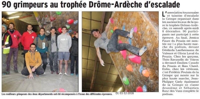 Dauphiné Libéré du 11-12-2018- Escalade à Tournon